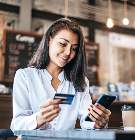 girl making a digital payment over the phone