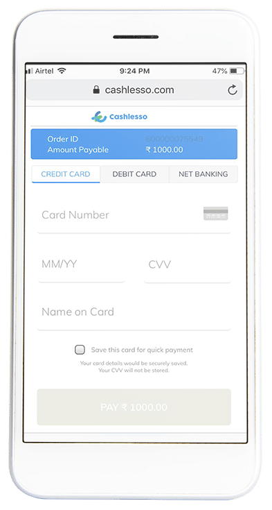 payment gateway cashlesso phone